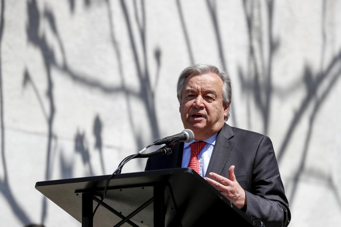 UNITED NATIONS, May 2, 2018 (Xinhua) -- United Nations Secretary-General Antonio Guterres speaks during Labor Day celebration, at the UN headquarters in New York, May 1, 2018. (Xinhua/Li Muzi/IANS) by .