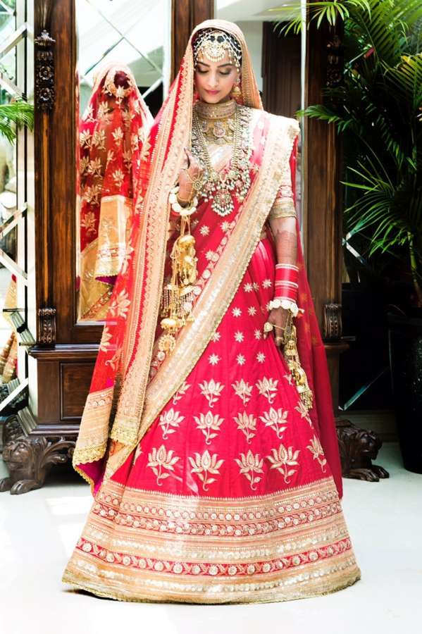 Mumbai: Actress Sonam Kapoor bridal look at her wedding with Delhi-based businessman Anand Ahuja in Mumbai on May 8, 2018. (Photo: IANS) by .