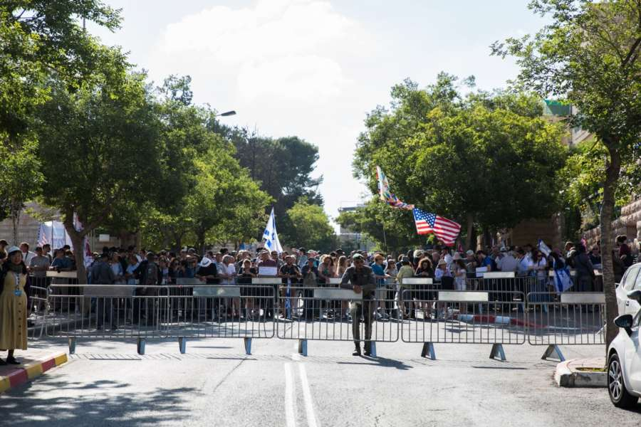 JERUSALEM, May 14, 2018 (Xinhua) Israelis take part in a rally celebrating the new U.S. embassy in Jerusalem, on May 14, 2018. The inauguration ceremony of the new U.S. embassy in Jerusalem started on Monday afternoon, as Israeli and U.S. officials gathered in the city amidst deadly clashes in the Gaza Strip. (Xinhua/Guo Yu) (hy/IANS) by .