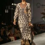 """New Delhi: A model showcases creation of fashion designer Poonam Bhagat collections at FDCI Fashion Show """"Khadi - Transcending Boundaries"""" in collaboration with KVIC as a part of SME Convention 2018 hosted by MSME, in New Delhi, on April 23, 2017. (Photo: Amlan Paliwal/IANS) by ."""