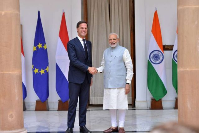 New Delhi: Prime Minister Narendra Modi with his Dutch counterpart Mark Rutte ahead of a bilateral meeting, at Hyderabad House in New Delhi on May 24, 2018. (Photo: IANS) by .