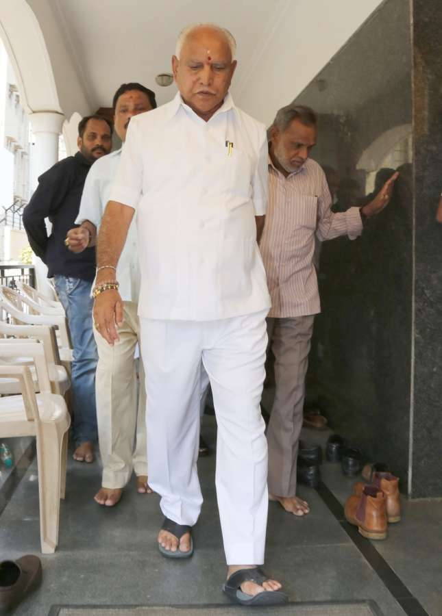 Bengaluru: BJP's Chief Ministerial candidate B.S. Yeddyurappa arrives to address the media after he was elected to the Karnataka Assembly from Shikaripura by 35,397 votes; in Bengaluru on May 15, 2018. Yeddyurappa, 75, defeated Congress nominee Goni Malatesha and seven others in his home constituency. (Photo: IANS) by .