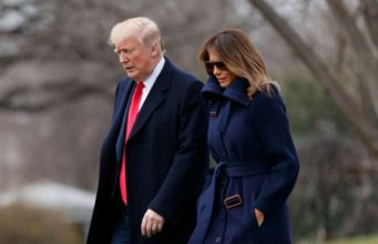 """WASHINGTON, March 19, 2018 (Xinhua) -- U.S. President Donald Trump (L) and First Lady Melania Trump depart the White House in Washington D.C., the United States, on March 19, 2018. U.S. President Donald Trump on Thursday suggested """"the ultimate penalties"""" against drug dealers in a bid to fight the country's rampant opioid crisis. (Xinhua/Ting Shen/IANS) by ."""
