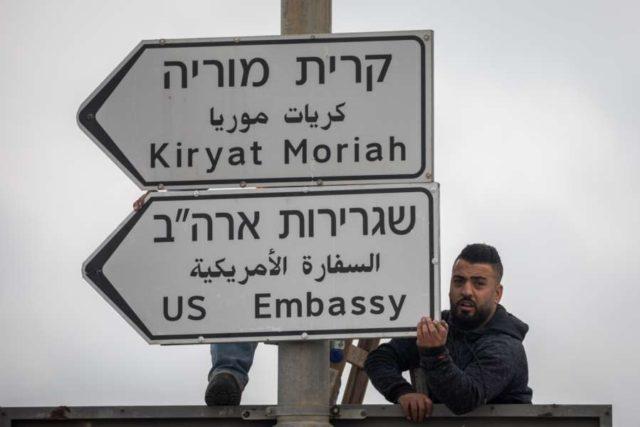 JERUSALEM, May 7, 2018 (Xinhua) -- Jerusalem municipal workers install a road sign of