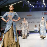 "New Delhi: Model showcase creation of fashion designer Poonam Bhagat collections at FDCI Fashion Show ""Khadi - Transcending Boundaries"" in collaboration with KVIC as a part of SME Convention 2018 hosted by MSME, in New Delhi, on April 23, 2017. (Photo: by ."
