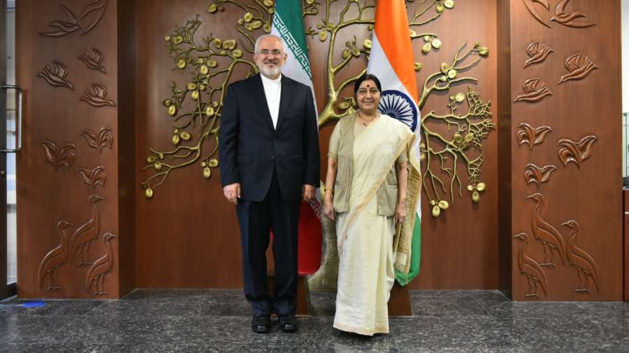 New Delhi: External Affairs Minister Sushma Swaraj with Iranian Foreign Minister Dr Mohammad Javad Zarif during a meeting, in New Delhi on May 28, 2018. (Photo: IANS) by .