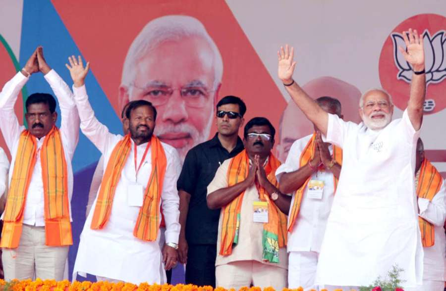 Kolar: Prime Minster Narendra Modi during a BJP rally ahead of Karnataka Assembly polls in Kolar on May 9, 2018. (Photo: IANS) by .