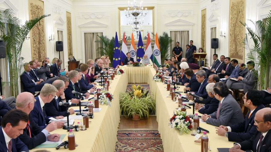 New Delhi: Prime Minister Narendra Modi and his Dutch counterpart Mark Rutte during the India-Netherlands CEOs Round table meeting, at Hyderabad House in New Delhi on May 24, 2018. (Photo: IANS/PIB) by .
