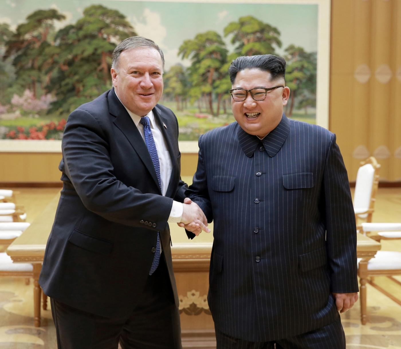 PYONGYANG, May 10, 2018 (Xinhua) -- Photo provided by the Korean Central News Agency (KCNA) on May 10, 2018 shows Kim Jong Un (R), top leader of the Democratic People's Republic of Korea (DPRK), shaking hands with visiting U.S. Secretary of State Mike Pompeo on May 9, 2018. Kim Jong Un expressed confidence that his upcoming summit meeting with U.S. President Donald Trump would be a historic one. (Xinhua/KCNA/IANS) by .
