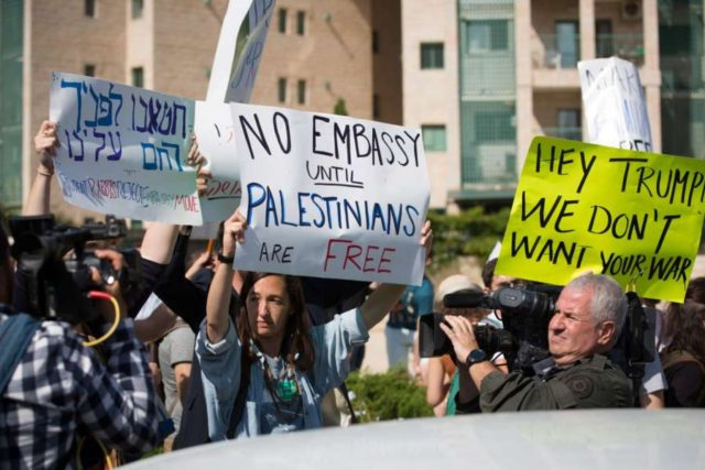 JERUSALEM, May 14, 2018 (Xinhua) People protest against the new U.S. embassy in Jerusalem, on May 14, 2018. The inauguration ceremony of the new U.S. embassy in Jerusalem started on Monday afternoon, as Israeli and U.S. officials gathered in the city amidst deadly clashes in the Gaza Strip. (Xinhua/Guo Yu) (hy/IANS) by .