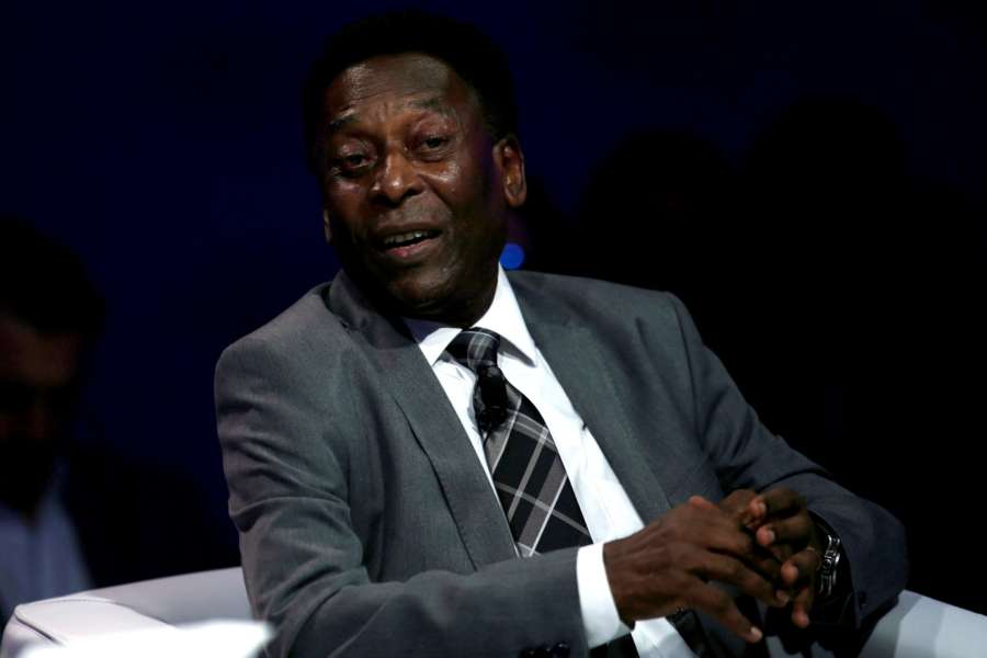 """AO PAULO, March 15, 2018 (Xinhua) -- Former Brazilian soccer player Edson Arantes do Nascimento """"Pele"""" takes part in a session of the World Economic Forum for Latin America, in Sao Paulo, Brazil, on March 14, 2018. (Xinhua/Rahel Patrasso/IANS) by ."""