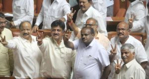 Bengaluru: JD(S) MLA H.D. Kumaraswamy and Congress MLA D. K. Shivakumar celebrate along with other legislators of both the parties after Karnataka Chief Minister B.S. Yeddyurappa resigned before facing a crucial trust vote in the Karnataka Assembly with numbers stacked against the BJP in the newly elected House; in Bengaluru on May 19, 2018. (Photo: IANS) by .