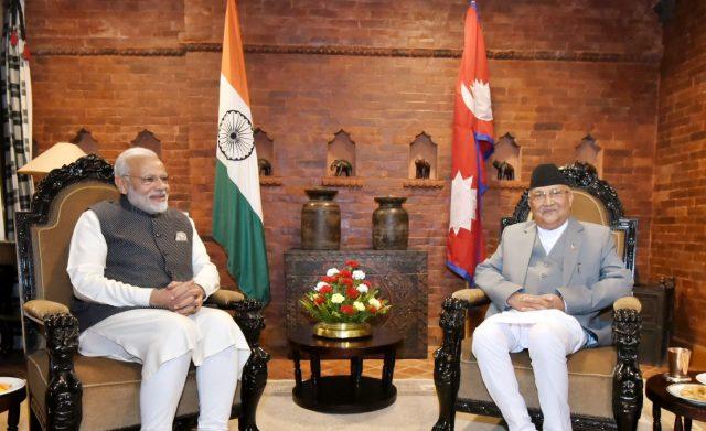 Kathmandu: Prime Minister Narendra Modi and Nepalese Prime Minister K.P. Sharma Oli ahead of the delegation level talks, in Kathmandu, Nepal on May 11, 2018. (Photo: IANS/PIB) by .
