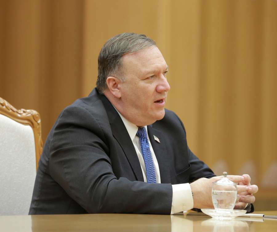PYONGYANG, May 10, 2018 (Xinhua) -- Photo provided by the Korean Central News Agency (KCNA) on May 10, 2018 shows visiting U.S. Secretary of State Mike Pompeo talking with Kim Jong Un (not in the picture), top leader of the Democratic People's Republic of Korea (DPRK), on May 9, 2018. Kim Jong Un expressed confidence that his upcoming summit meeting with U.S. President Donald Trump would be a historic one. (Xinhua/KCNA/IANS by .