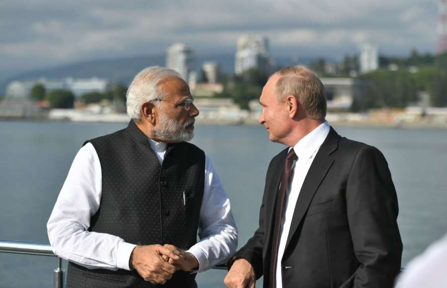 Sochi: Prime Minister Narendra Modi with the Russian President Vladimir Putin in Sochi, Russia on May 21, 2018. (Photo: IANS/PIB) by .