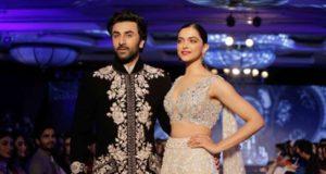 "Mumbai: Actors Ranbir Kapoor and Deepika Padukone showcase creation of fashion designer Manish Malhotra at ""The Walk of Mijwan"" in Mumbai on April 19, 2018 . (Photo: IANS) by ."