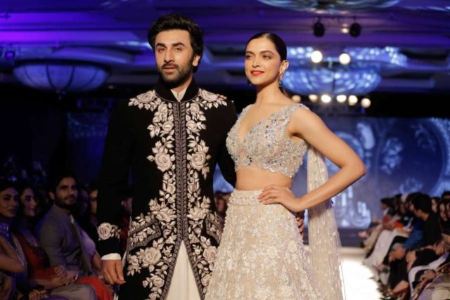 Mumbai: Actors Ranbir Kapoor and Deepika Padukone showcase creation of fashion designer Manish Malhotra at