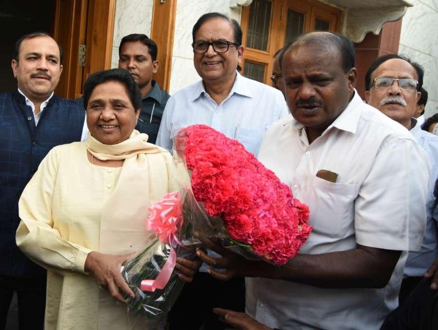 New Delhi: Janata Dal-Secular (JD-S) leader and Karnataka Chief Minister-designate H.D. Kumaraswamy meets BSP chief Mayawati, in New Delhi on May 21, 2018. (Photo: IANS) by .