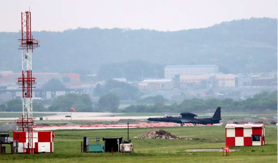 Seoul: A U-2 ultra-high-altitude reconnaissance aircraft operated by the United States Air Force returns to U.S. Osan Air Base in Pyeongtaek, south of Seoul, on May 16, 2018, as South Korea and the United States conduct the Max Thunder joint military exercise. The two Koreas were scheduled to hold their first high-level talks at the truce village of Panmunjom on the same day to follow up on their April 27 summit, but the North abruptly suspended the meeting just hours after proposing it, accusing South Korea and the U.S. of rehearsing for war against the North through the ongoing joint air exercise.(Yonhap/IANS) by .