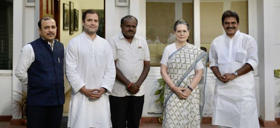 New Delhi: JD(S) leader Danish Ali and Karnataka Chief Minister designate H.D. Kumaraswamy call on Congress President Rahul Gandhi and UPA chairperson Sonia Gandhi in New Delhi, on May 21, 2018. Also seen Congress leader DK Shivakumar. (Photo: IANS) by .