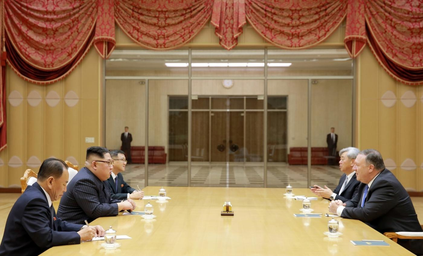 PYONGYANG, May 10, 2018 (Xinhua) -- Photo provided by the Korean Central News Agency (KCNA) on May 10, 2018 shows Kim Jong Un (2nd L), top leader of the Democratic People's Republic of Korea (DPRK), holding talks with visiting U.S. Secretary of State Mike Pompeo (1st R) on May 9, 2018. Kim Jong Un expressed confidence that his upcoming summit meeting with U.S. President Donald Trump would be a historic one. (Xinhua/KCNA/IANS) by .