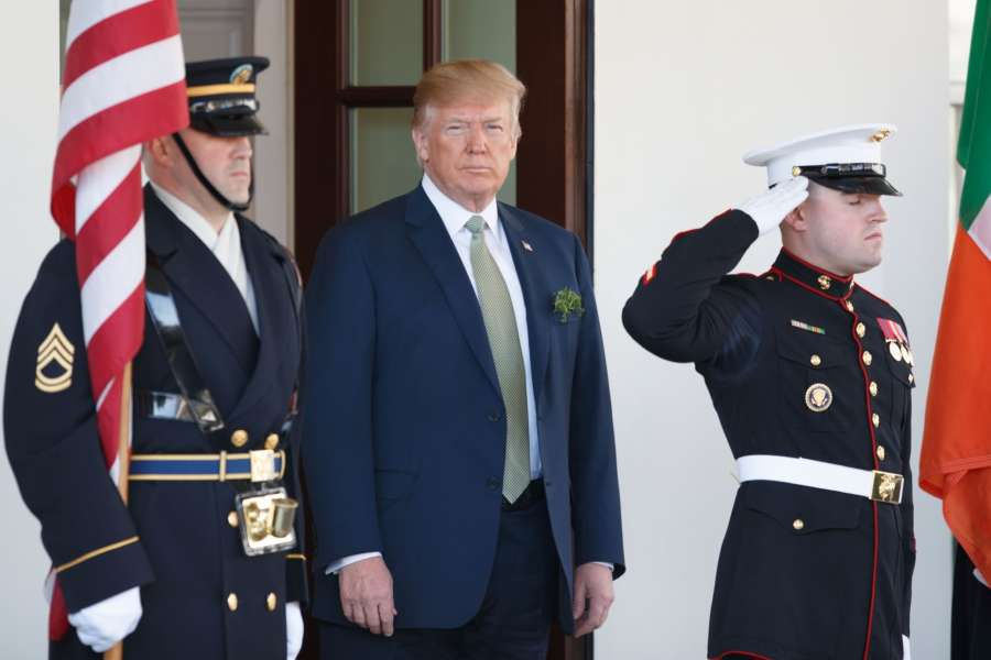 WASHINGTON D.C., March 15, 2018 (Xinhua) -- U.S. President Donald Trump (C) waits for the arrival of Irish Prime Minister Leo Varadkar at the White House in Washington D.C., the United States, on March 15, 2018. (Xinhua/Ting Shen/IANS) by .