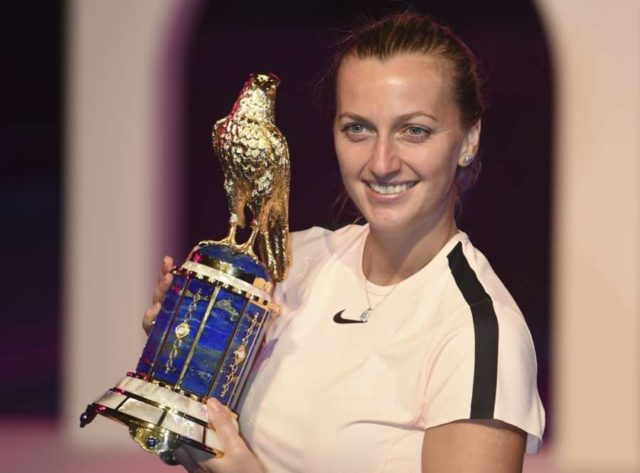 DOHA, Feb. 19, 2018 (Xinhua) -- Petra Kvitova of Czech Republic poses with the trophy after winning the single's final match against Garbine Muguruza of Spain at the 2018 WTA Qatar Open in Doha, Qatar, on Feb. 18, 2018. Petra Kvitova won 2-1 to claim the title. (Xinhua/Nikku/IANS) by .