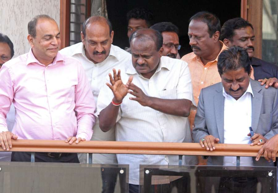 Bengaluru: JD(S) leader H.D. Kumarswamy at his residence in Bengaluru, on May 15, 2018. Major drama unfolded as the counting of votes progressed in Karnataka on Tuesday with the BJP, for most part of the day, seeming set to return to power until the Congress sprung a surprise by announcing its support to the Janata Dal-Secular (JD-S) and paving the way for the party with the smallest number of seats to form the government. (Photo: IANS) by .