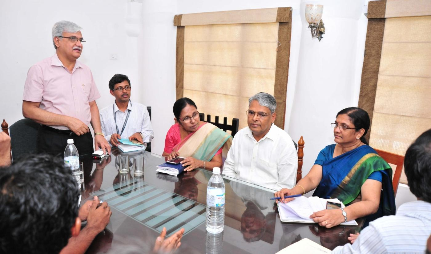 Kozhikode (Kerala): Officials of Kerala's Animal Husbandry Department and Forest Department during a meeting with the Central team regarding outbreak of Nipah virus (NiP) in Kozhikode on May 22, 2018. The toll due to the Nipah virus (NiP), presently identified in Kerala's Kozhikode and Malappuram, rose to 10 on Tuesday even as the Central and state governments scrambled to contain its outbreak. (Photo: IANS) by .
