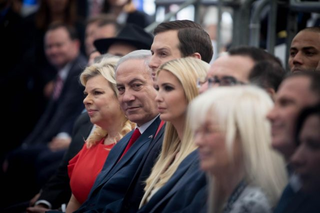 JERUSALEM, May 14, 2018 (Xinhua) -- Israeli Prime Minister Benjamin Netanyahu (2nd L, front) attends the inauguration ceremony of the new U.S. embassy in Jerusalem, on May 14, 2018. The inauguration ceremony of the new U.S. embassy in Jerusalem started on Monday afternoon, as Israeli and U.S. officials gathered in the city amidst deadly clashes in the Gaza Strip. (Xinhua/JINI/IANS) by .