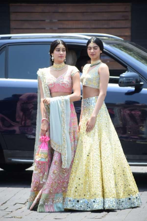 Mumbai: Actress Janhvi Kapoor along with her sister Khushi Kapoor during wedding ceremony of Sonam Kapoor and Anand Ahuja in Mumbai on May 8, 2018. (Photo: IANS) by .