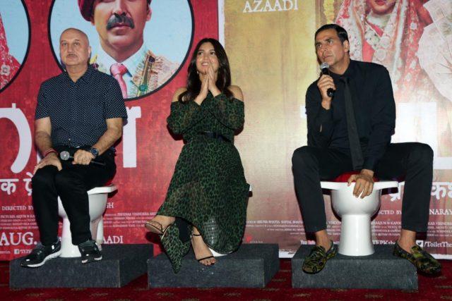 New Delhi: Actors Akshay Kumar, Bhumi Pednekar and Anupam Kher during a press conference regarding