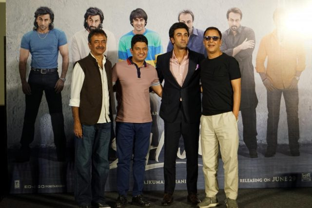 Mumbai: Actor Ranbir Kapoor, bollywood producer and T-Series Managing Director Bhushan Kumar, producer Vidhu Vinod Chopra and filmmaker Rajkumar Hirani at the teaser launch of Sanjay Dutt's biopic