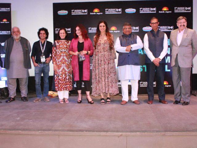 New Delhi: Union Law Minister Ravi Shankar Prasad, actors Tabu, Pooja Bhatt and others during the opening ceremony of 9th Jagran Film Festival in New Delhi on June 29, 2018. (Photo: Amlan Paliwal/IANS) by .