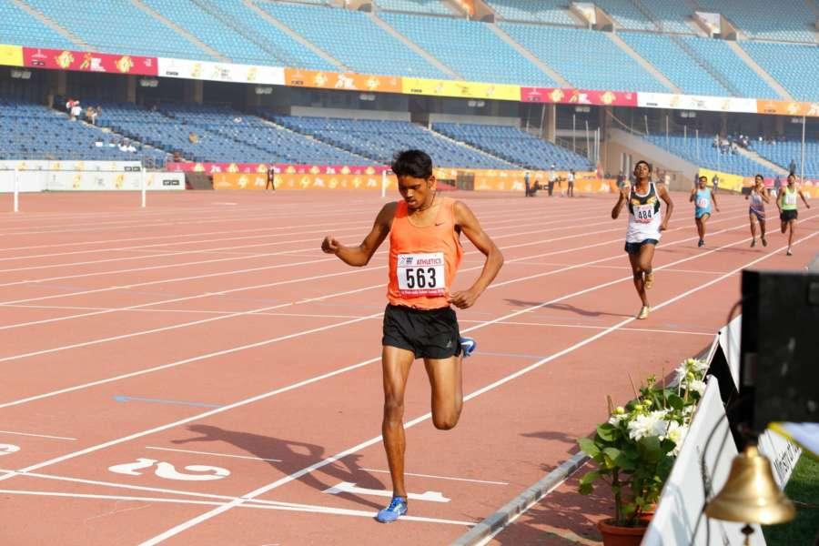 New Delhi: 1500m Boys race winner Anu Kumar during Khelo India School Games at the Jawaharlal Nehru Stadium in New Delhi on Jan 31, 2018. Kumar finish the race in 4:04.77 seconds. (Photo: IANS) by .