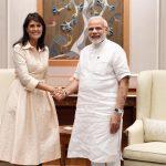 New Delhi: US Ambassador to the UN Nikki Haley meets Prime Minister Narendra Modi, in New Delhi on June 27, 2018. (Photo: IANS/PIB) by .