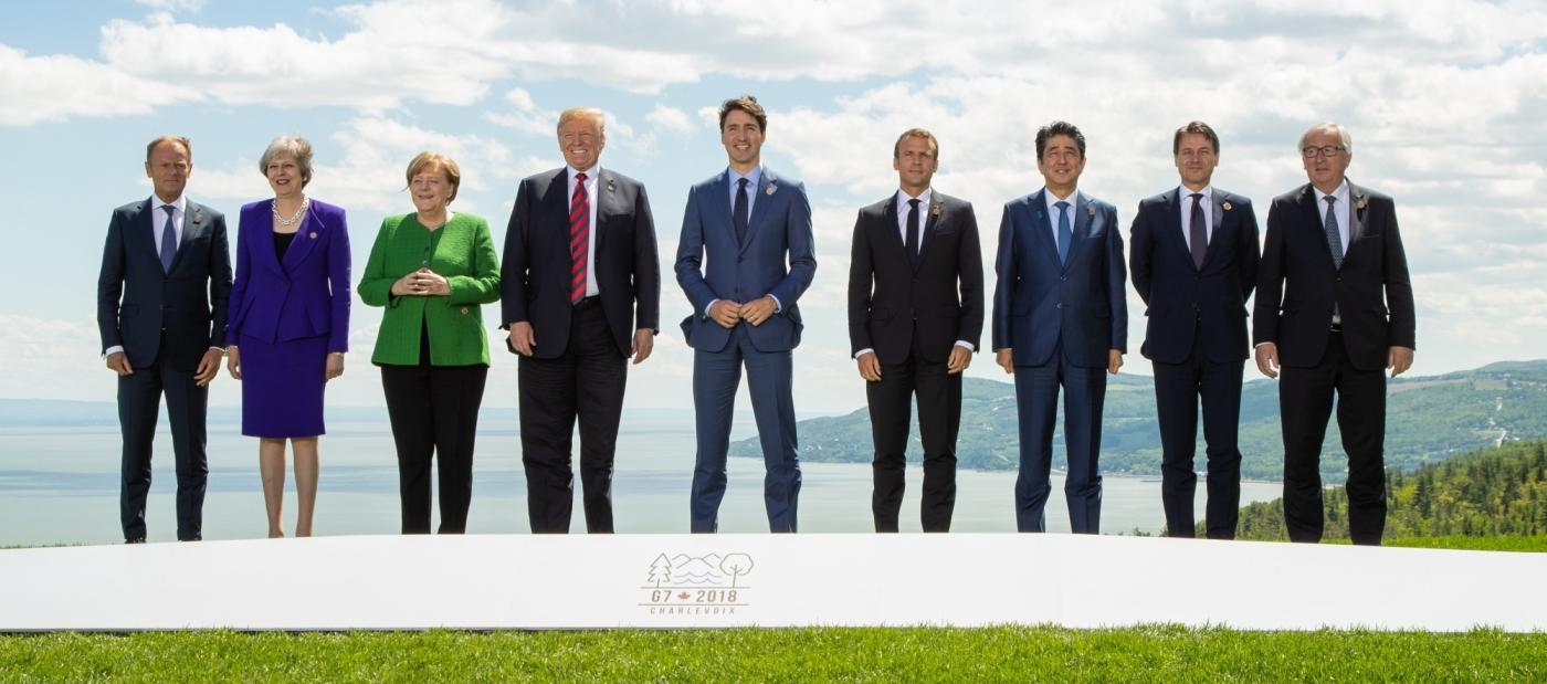 LA MALBAIE, June 8, 2018 (Xinhua) -- Participants of the Group of Seven (G7) summit European Union Council President Donald Tusk, British Prime Minister Theresa May, German Chancellor Angela Merkel, U.S. President Donald Trump, Canadian Prime Minister Justin Trudeau, French President Emmanuel Macron, Japanese Prime Minister Shinzo Abe, Italian Prime Minister Giuseppe Conte and European Commission President Jean-Claude Juncker (from L to R) pose for a group photo on the first day of the G7summit in La Malbaie, Quebec, Canada, June 8, 2018. The Group of Seven (G7) summit, which kicked off here on Friday, is expected to be a tough meeting between the United States and its allies amid raising concerns over U.S. tariffs on steel and aluminum imports. (Xinhua/IANS) by .