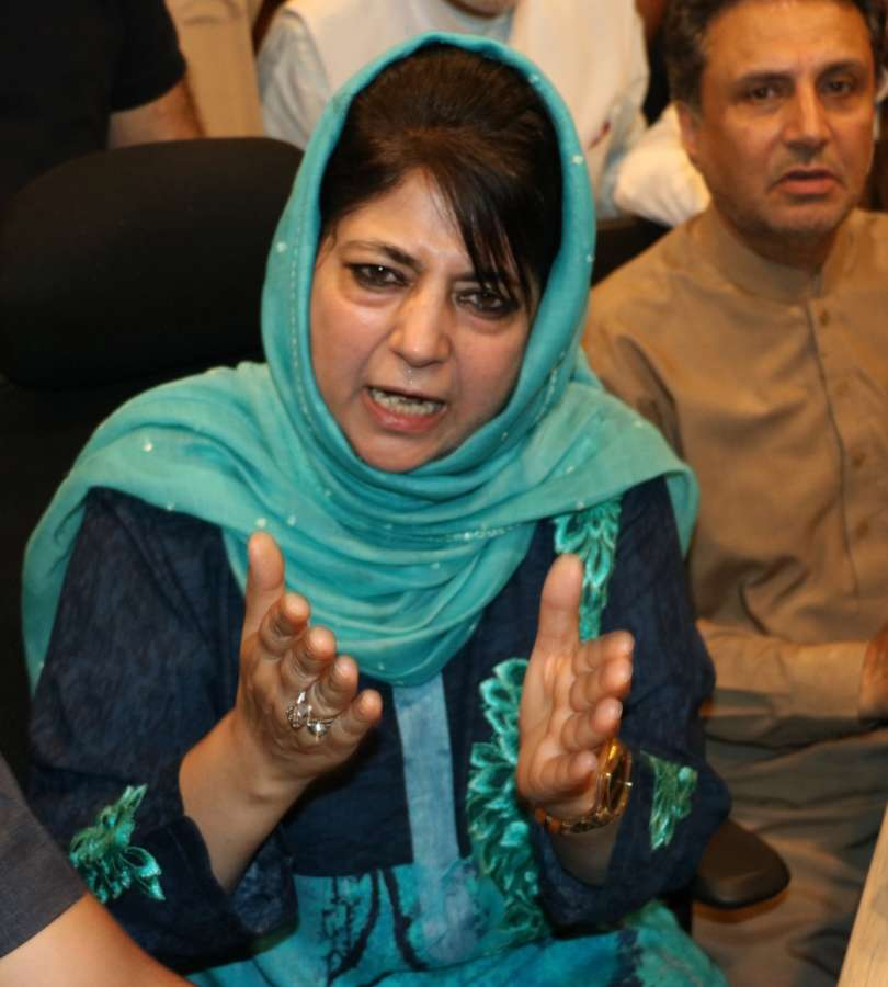 Srinagar: People's Democratic Party (PDP) leader Mehbooba Mufti addresses a press conference, in Srinagar on June 19, 2018. (Photo: IANS) by .