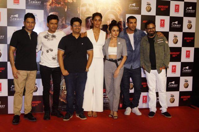 Mumbai: T-Series head honcho Bhushan Kumar, actors Manoj Bajpayee, Amruta Khanvilkar, Aisha Sharma, John Abraham and producer Nikhil Advani at the trailer launch of their upcoming film