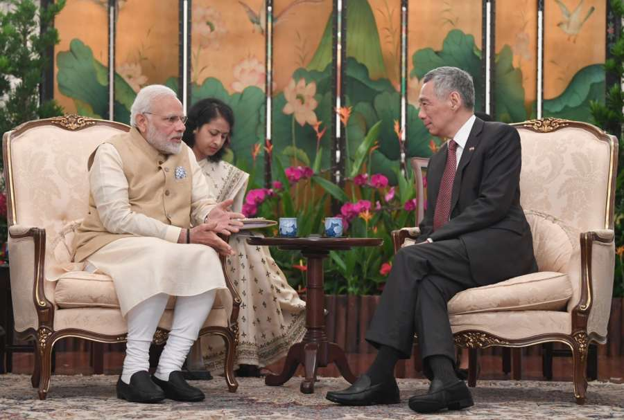 Singapore: Prime Minister Narendra Modi meets with Singapore's Prime Minister Lee Hsien Loong, at Istana - Presidential Palace, in Singapore on June 01, 2018. (Photo: IANS/PIB) by .