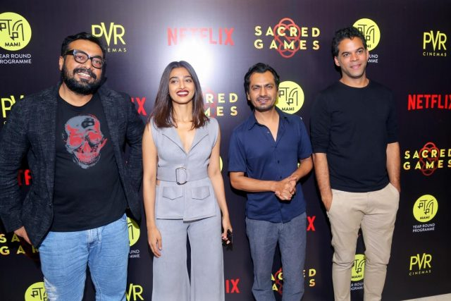 New Delhi: Director Anurag Kashyap with actors Radhika Apte and Nawazuddin Siddiqui at the special screening of film