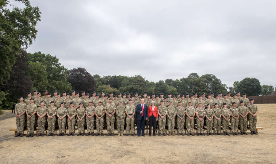 United States of America President Donald Trump and Prime Minister Theresa May Visit to Royal Military Acedemy Sandhurst. by Corporal Ben Beale.