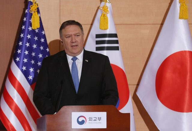 Seoul: U.S. Secretary of State Mike Pompeo answers reporters' questions during a press conference in Seoul after a trilateral meeting with his counterparts from South Korea and Japan in this June 14, 2018, file photo. The White House announced on July 2 that Pompeo will travel to North Korea from July 5-7 for follow-up negotiations to the North Korea-U.S. summit.(Yonhap/IANS) by .