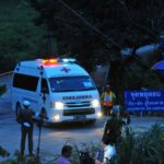 CHIANG RAI, July 9, 2018 (Xinhua) -- An ambulance taking a rescued boy moves to a local hospital in Chiang Rai, Thailand, July 9, 2018. Eight boys have been saved and emerged by Monday evening from a flooded cave where 12 boys and their soccer coach were trapped for more than two weeks. (Xinhua/Rachen Sageamsak/IANS) by .