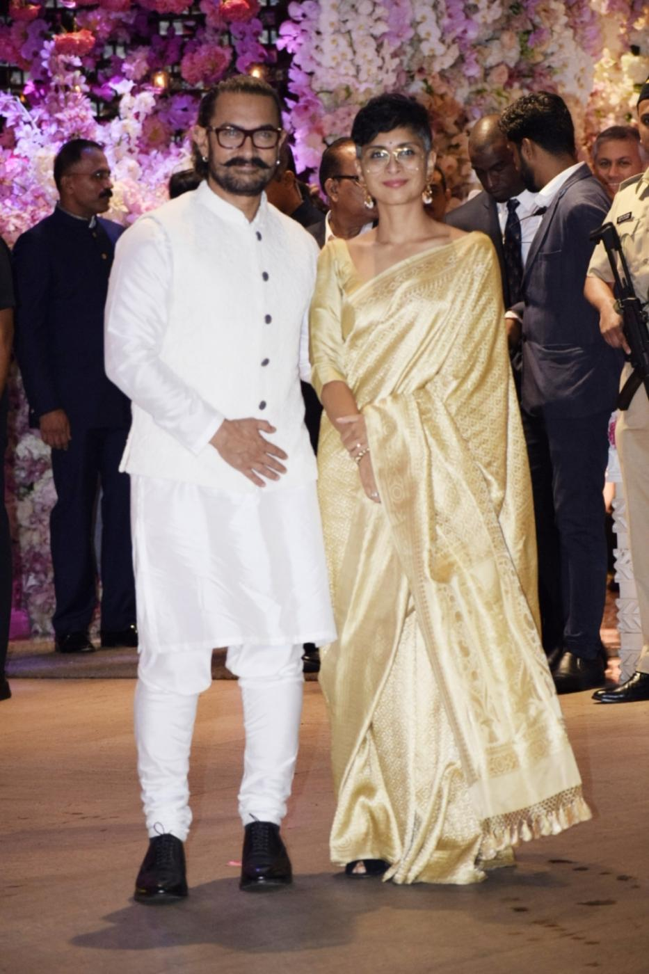 Mumbai: Actor Aamir Khan with his wife Kiran Rao at the engagement party of Reliance Industries Chairman Mukesh Ambani's son Akash Ambani and diamantaire Russell Mehta's daughter Shloka Mehta, at Antilia in Mumbai on June 30, 2018. (Photo: IANS) by .
