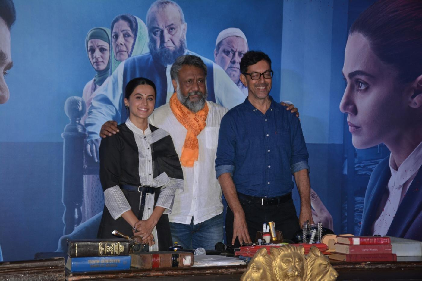 "Mumbai: Filmmaker Anubhav Sinha with actors Rajat Kapoor and Taapsee Pannu at the trailer launch of ""Mulk"" in Mumbai on July 9, 2018. (Photo: IANS) by ."