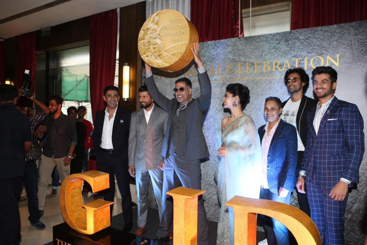 Mumbai: Actors Akshay Kumar, Mouni Roy, Amit Sadh, Kunal Kapoor, Vineet Kumar Singh with filmmaker Reema Kagti and others at the launch of the first song from upcoming film 'Gold', titled 'Naino Ne Baandhi' in Mumbai on July 6, 2018. (Photo: IANS) by .