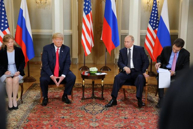 HELSINKI, July 16, 2018 (Xinhua) -- U.S. President Donald Trump (2nd L) and his Russian counterpart Vladimir Putin (2nd R) meet in Helsinki, Finland, on July 16, 2018. Donald Trump and Vladimir Putin started their first bilateral meeting here on Monday. (Xinhua/Office of the President of the Republic of Finland/Juhani Kandell/IANS) by .