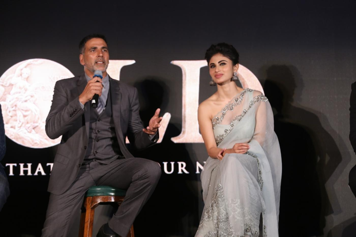 Mumbai: Actors Akshay Kumar and Mouni Roy at the launch of the first song from upcoming film 'Gold', titled 'Naino Ne Baandhi' in Mumbai on July 6, 2018. (Photo: IANS) by .