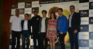 "Mumbai: Director Shashank Khaitan, producer Karan Johar, actors Ishaan Khatter and Janhvi Kapoor during the success meet of their film ""Dhadak"" in Mumbai on July 26, 2018.(Photo: IANS) by ."